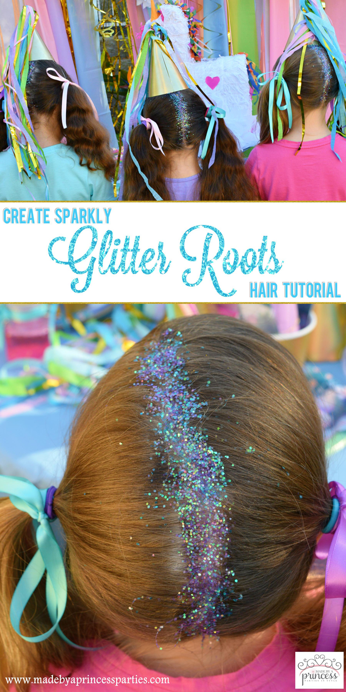 Create Sparkly Glitter Roots Hair Tutorial pin it