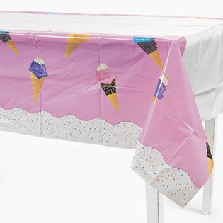 First Birthday Ice Cream Party Ideas plastic tablecloth