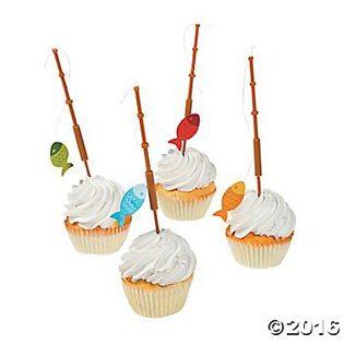 Fishing Baby Shower Ideas fishing pole cupcake picks