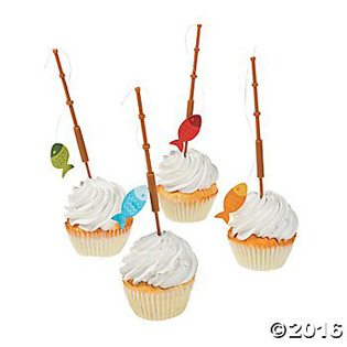 Fishing Baby Shower Ideas fishing pole cupcake picks