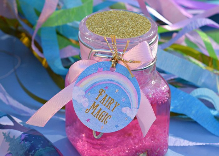 Glitter Fairy Jar Party Idea Tutorial + FREE Printable