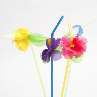 Moana Party Ideas flower straws
