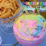 Unicorn Party Rainbow Marshmallow Cream Cheese Fruit Dip Recipe
