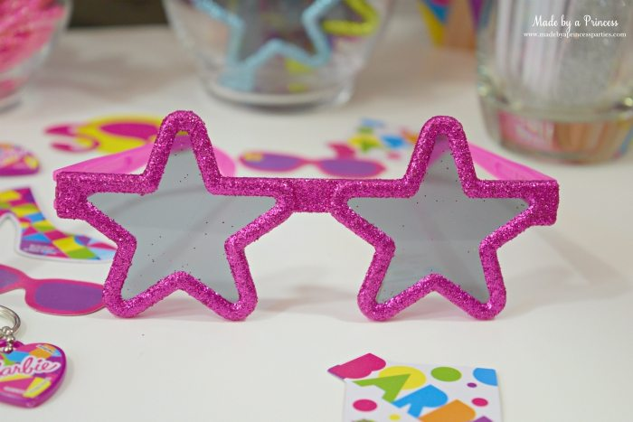 Fashionista Barbie Party Ideas Pink Glitter Rock Star Glasses Favors - Made by a Princess #barbie #barbieparty