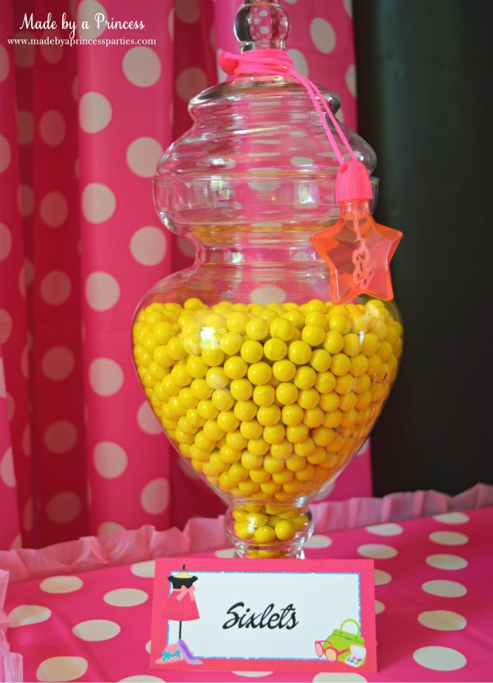 Fashionista Barbie Party Ideas Yellow Sixlets for Candy Buffet - Made by a Princess #barbie #barbieparty