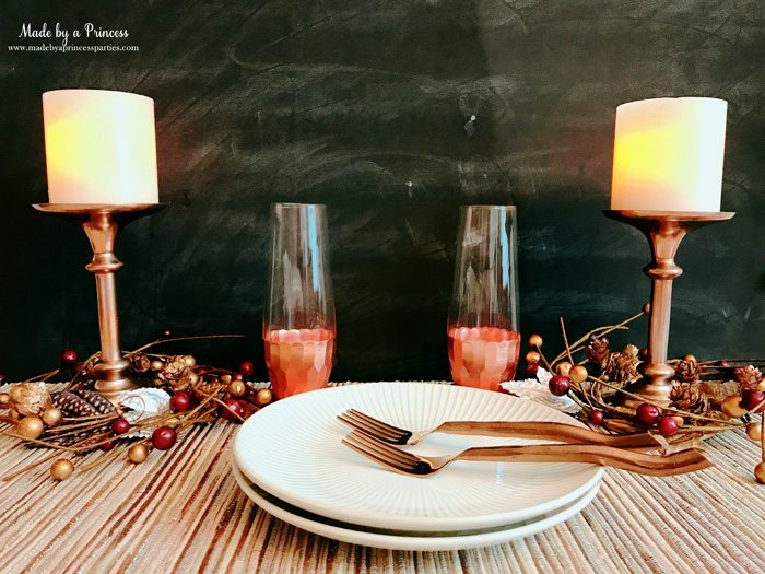Gingerbread Cheesecake Dessert Recipe set the scene with pretty copper candlesticks Made by a Princess #gingerbreadcheesecake