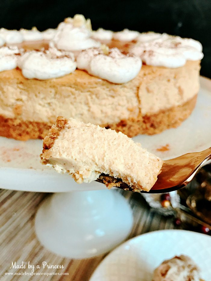 Gingerbread Cheesecake Dessert Recipe smooth and silky slice Made by a Princess #gingerbreadcheesecake