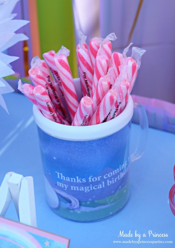 Unicorn Party Ideas Candy Sticks in Custom Mug - Made by a Princess #unicorn #unicornparty