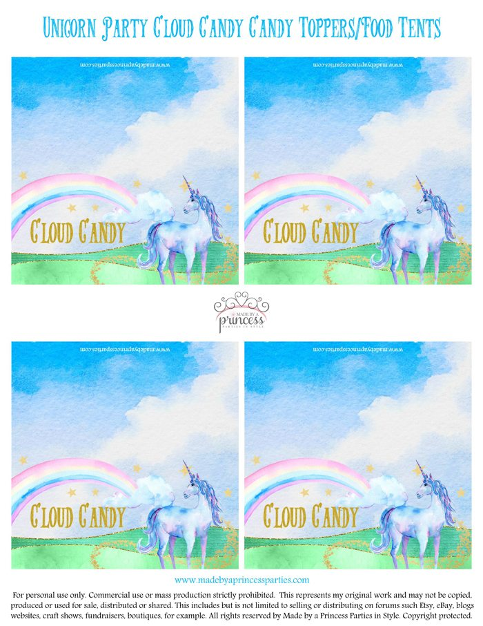 Unicorn Party Ideas Cloud Candy Candy Topper - Made by a Princess #unicorn #unicornparty