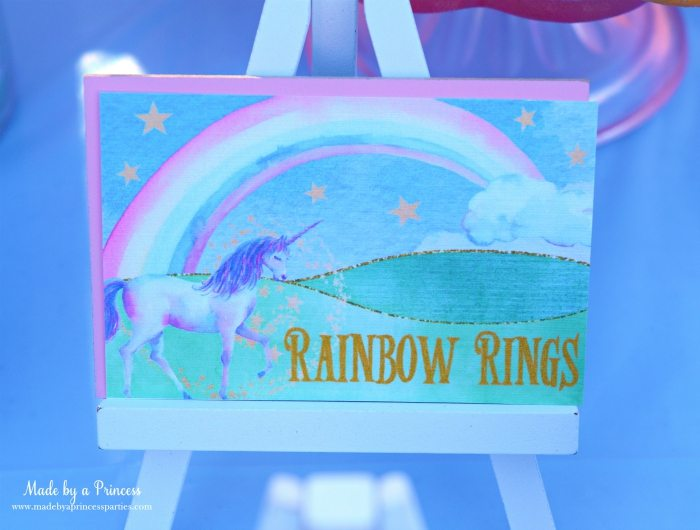 Unicorn Party Ideas Rainbow Rings Donuts - Made by a Princess #unicorn #unicornparty