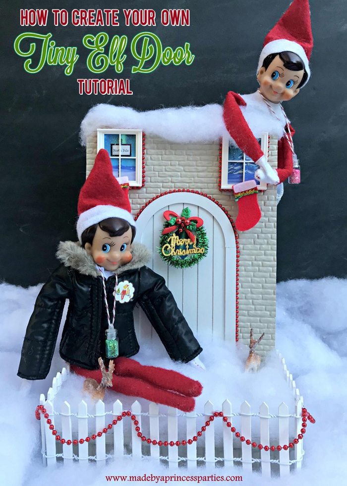 How to Create Your Own Tiny Elf Door Tutorial Elf on the Shelf visit MadebyaPrincess #elfdoor #fairydoor #elfdoorkit