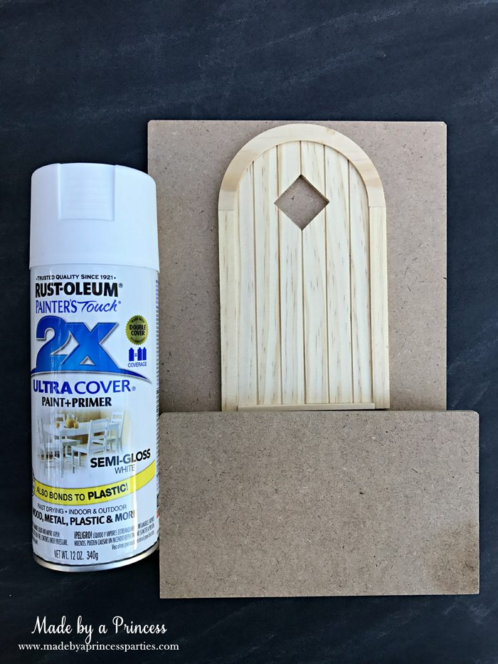 How to Create Your Own Tiny Elf Door Tutorial spray paint elf door kit MadebyaPrincess #elfdoor #fairydoor #elfdoorkit