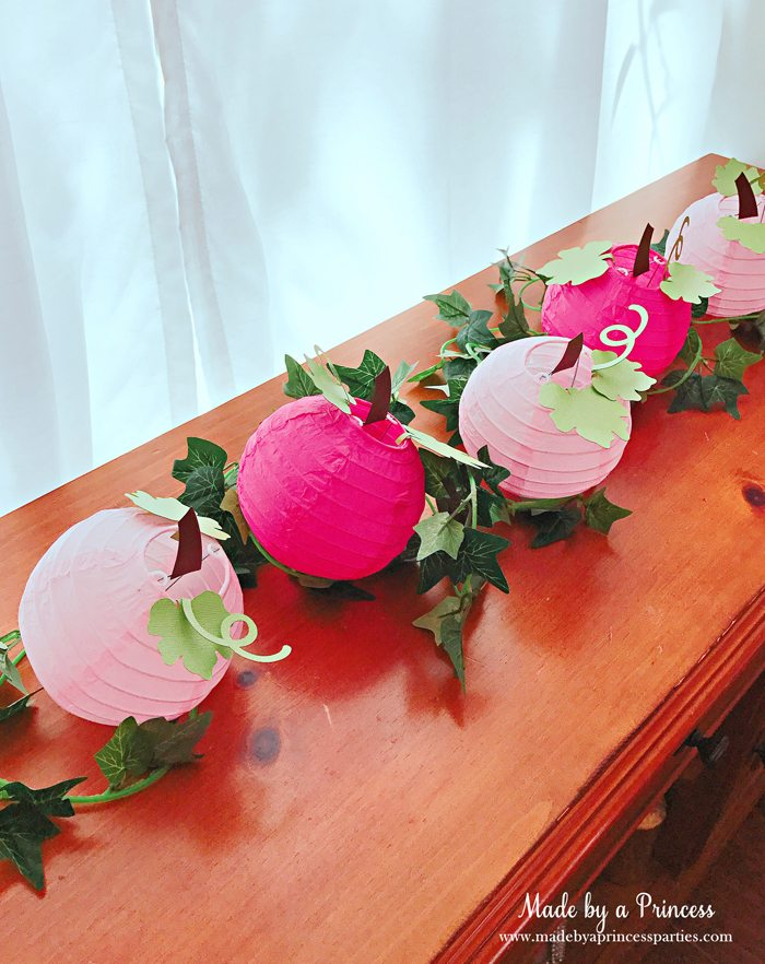 Pink Pumpkin Halloween Party Ideas pink paper lanterns turned to pumpkins with vine