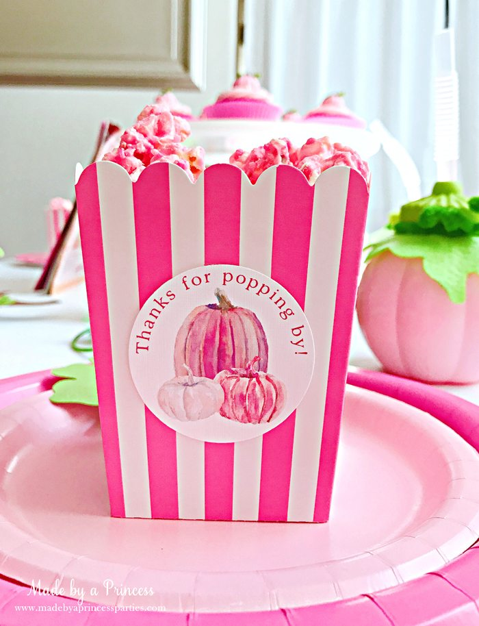 Pink Pumpkin Halloween Party Ideas pink popcorn Made by a Princess #pinkparty #pinkoween #pinkpumpkinparty