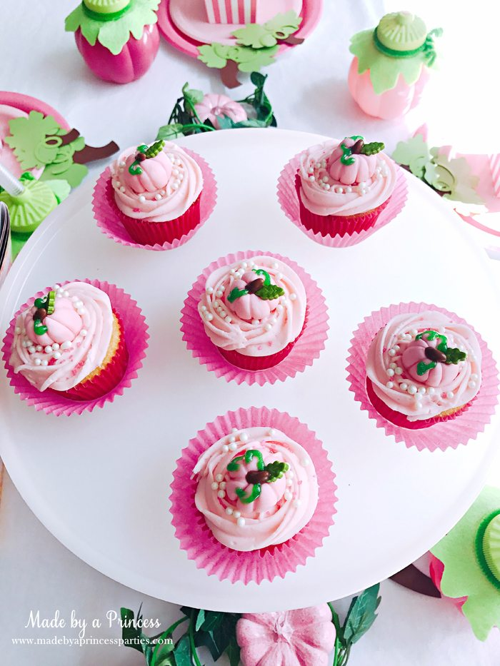 Pink Pumpkin Halloween Party Ideas platter of pink cupcakes Made by a Princess #pinkparty #pinkoween #pinkpumpkinparty