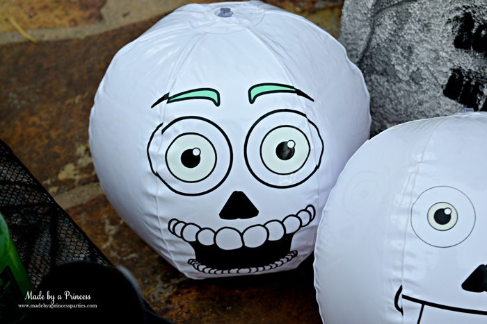 Teen Halloween Party Ideas glow in the dark beach balls Made by a Princess #halloweenparty #teenhalloween