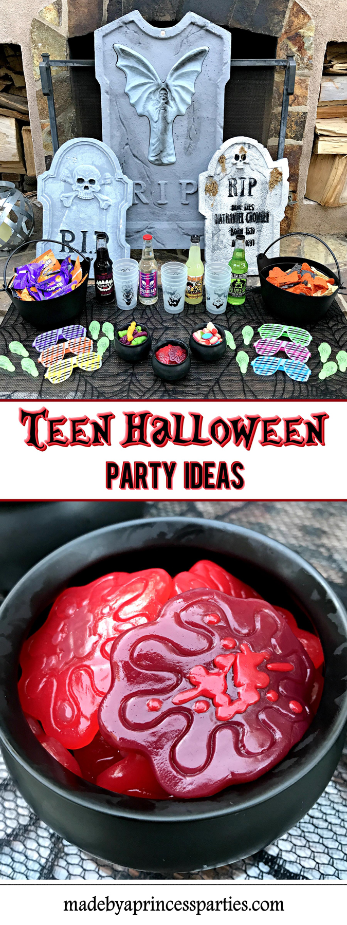 Teen Halloween Party Ideas party filled with snacks and glow in the dark goodies Made by a Princess #halloweenparty #teenhalloween