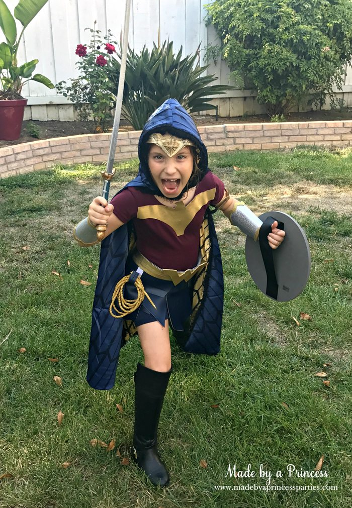 Wonder Woman Movie Costume with sword cape and shield MadebyaPrincess #halloweencostume #wonderwoman #galgadot #wonderwomancostume