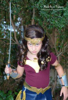 DIY Wonder Woman Movie Halloween Costume with sword from Oriental Trading MadebyaPrincess #halloweencostume #wonderwoman #galgadot #wonderwomancostume
