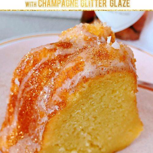 Champagne Poke Cake with Champagne Glitter Glaze