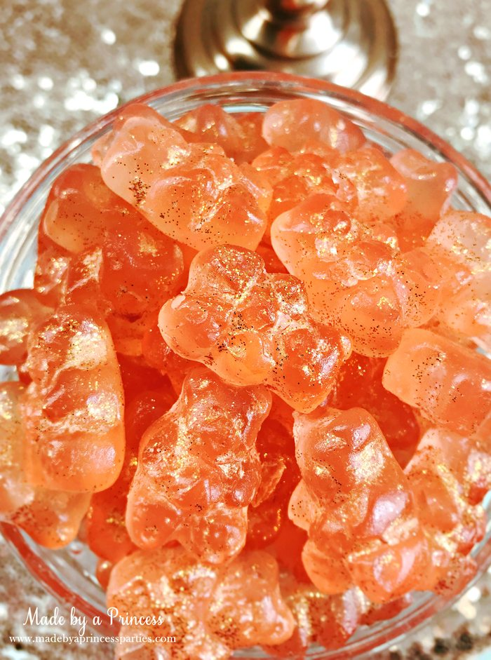 Make Your Own Boozy Glitter Champagne Gummy Bears Recipe Toss in Bowl with Edible Disco Dust