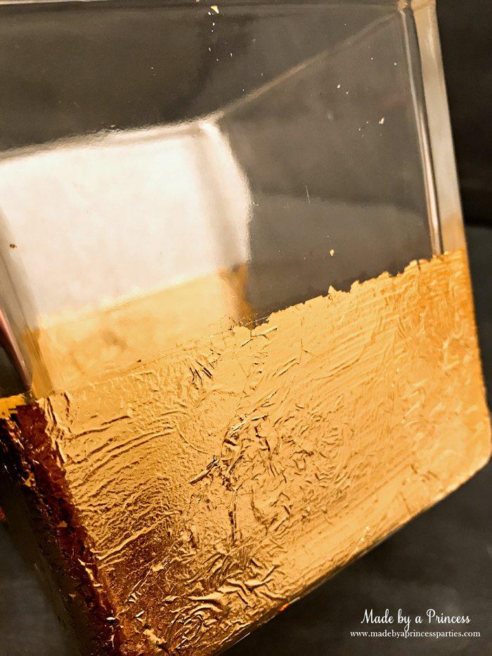 Rose Gold Foil Leaf Vase DIY Party Idea Peel Off Tape from Glass Vase