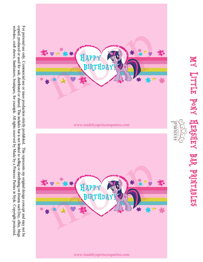 My Little Pony Party Food Ideas Hershey Bar Wrapper Free Printables by @MadebyaPrincess