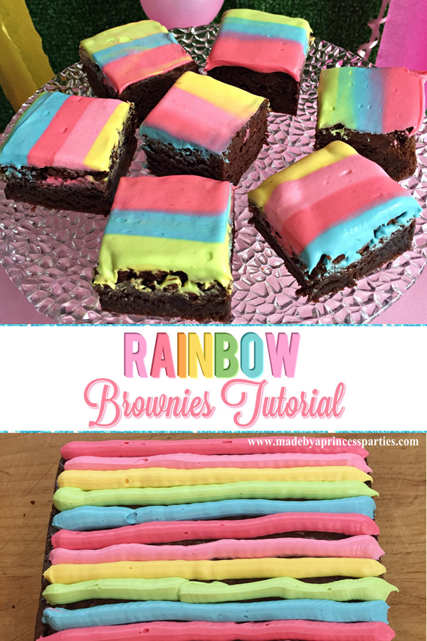 Unicorn Party Rainbow Brownies Recipe is a quick and easy way to dress up brownies #rainbowbrownies #rainbowparty #unicornparty #trollspary #rainbowfood @madebyaprincess