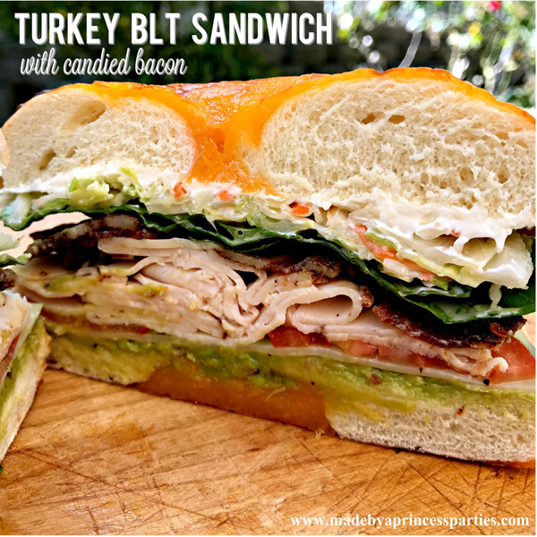 Best Turkey BLT Sandwich Recipe with candied bacon via @madebyaprincess #turkeysandwich #blt #bltsandwich #bestsandwich #recipe #turkeyblt #madebyaprincess