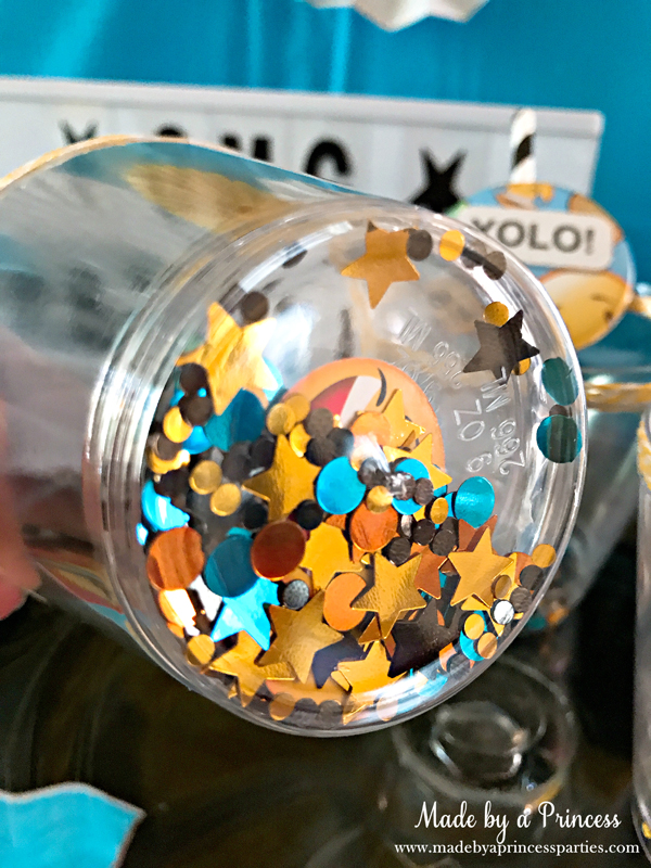 DIY Floating Confetti Sparkle Cup what it looks like from the bottom