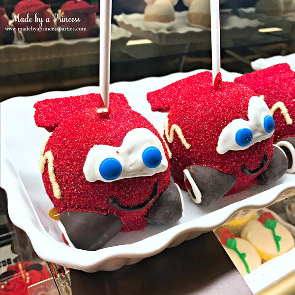 Disneylands Best Pixar Fest Food Checklist Cars McQueen Apples #disneylandfood #disneyfood #cars #pixarfest #madebyaprincess