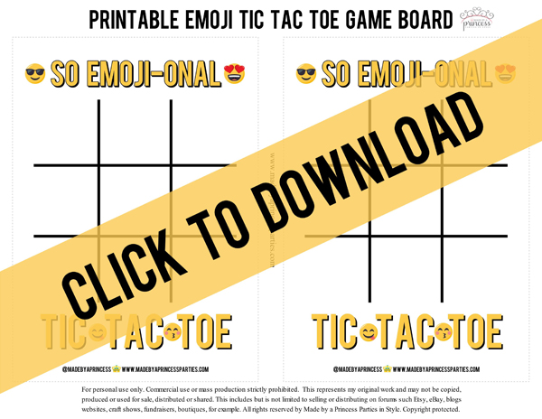Emoji Tic Tac Toe Printable Board Game. Click to download #emojiparty #tictactoe #partygame @madebyaprincess