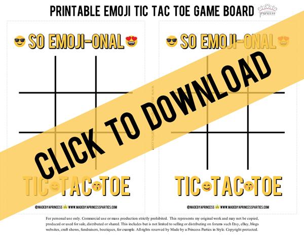 Emoji Tic Tac Toe Printable Board Game. Click to download #emojiparty #tictactoe #partygame @madebyaprincess