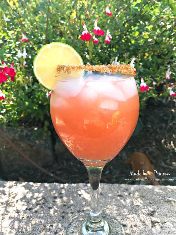 Copycat Disney Rose Gold Margarita is the perfect summer party cocktail #disneycocktail #rosegoldmargarita #copycatdisneyrecipe @madebyaprincess