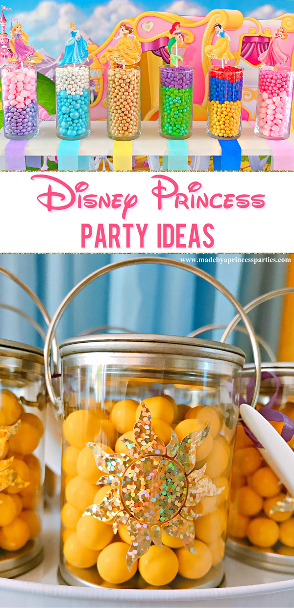 Disney Princess Party Ideas set up a candy buffet in colors that represent each princess