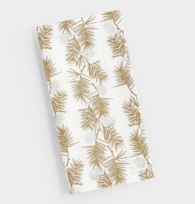 Golden Holiday Entertaining Essentials gold metallic pine needles napkins