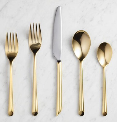 Golden Holiday Entertaining Essentials gold wave flatware