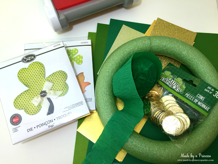DIY Easy St Patricks Day Shamrock Wreath supplies needed for making wreath
