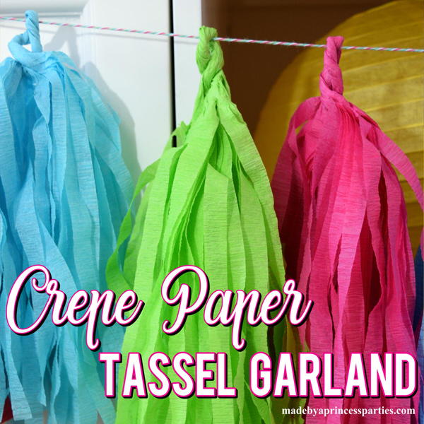 How to Make Tassel Garland using Crepe Paper Streamers in bright colors