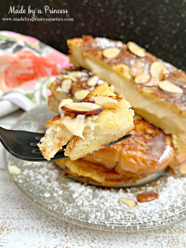 Every bite of this marzipan stuffed french toast is packed with sweet almond flavor
