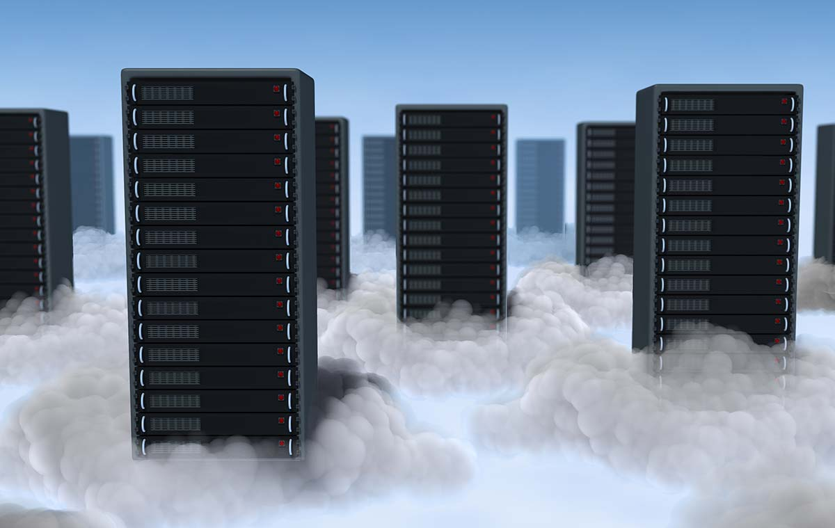 Picture of servers in cloud
