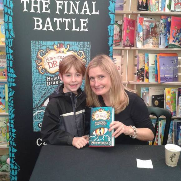 Jacob with Cressida Cowell in 2015