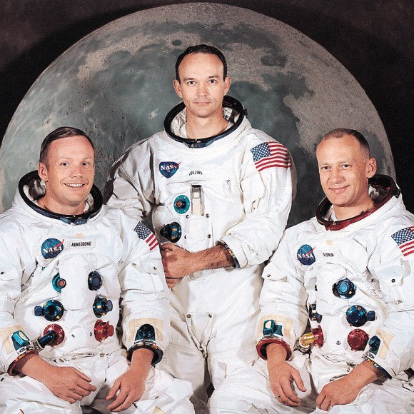 The Apollo 11 crew: Neil Armstrong, Michael Collins, and Buzz Aldrin