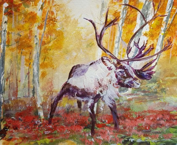 Autumnal coloured painting with Reindeer centre facing right