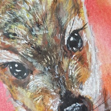 close up painting of deer face on orange and gold background