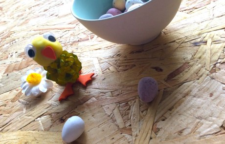 pine cone Easter chick with mini eggs