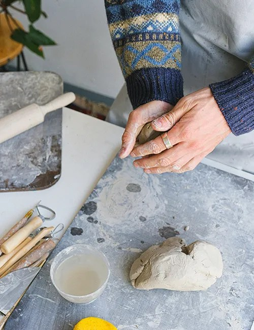 Clay pottery candle making workshop at Christmas Reading Berkshire