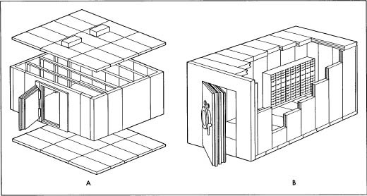 A. The modular panels of the vault. B. The finished vault with safe deposit boxes.