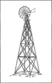 A modern steel windmill.