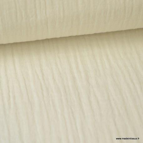 tissu double gaze de coton pas cher coloris ecru